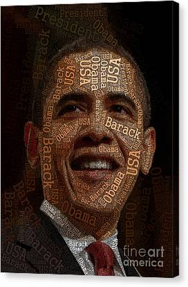 Obama Typography Art Canvas Print by Boon Mee