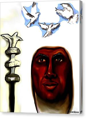 Obatala -king Of White Cloth Canvas Print by Carmen Cordova