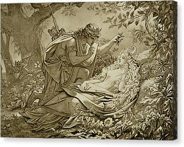 Oberon And Titania Canvas Print by English School