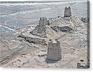 Ocean Sandcastles Canvas Print by Betsy C Knapp
