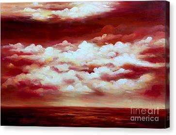Ocean Sunset - Abstract Oil Painting Original Modern Contemporary Art House Wall Deco Canvas Print by Emma Lambert