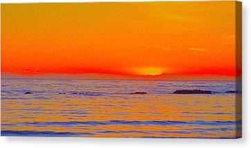 Ocean Sunset In Orange And Blue Canvas Print by Ben and Raisa Gertsberg