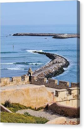 Ocean View From The Old Medina In Rabat In Morocco Canvas Print by Karol Kozlowski