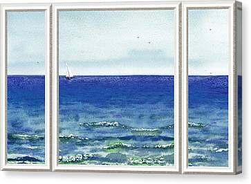 Ocean View Window Canvas Print by Irina Sztukowski