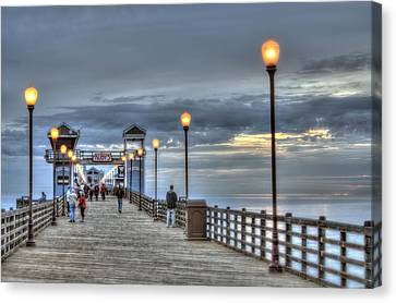 Oceanside Pier At Sunset Canvas Print by Ann Patterson