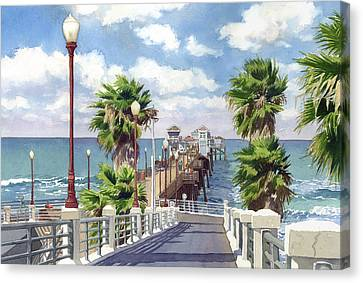 Oceanside Pier Canvas Print by Mary Helmreich