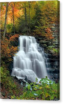 October Foliage Surrounding Erie Falls Canvas Print by Gene Walls