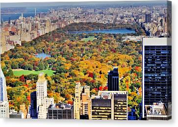 October Glow In Central Park Manhattan Skyline Canvas Print by Dan Sproul