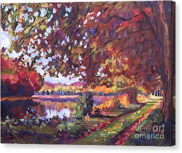 October Mirror Lake Canvas Print by David Lloyd Glover