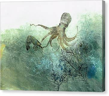 Octopus And Shrimp Canvas Print by Nancy Gorr