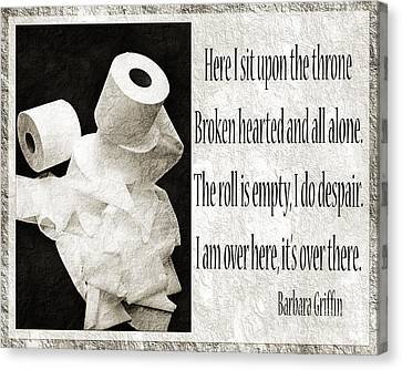 Ode To The Spare Roll Bw 2 Canvas Print by Andee Design
