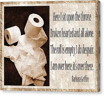 Ode To The Spare Roll Sepia 2 Canvas Print by Andee Design