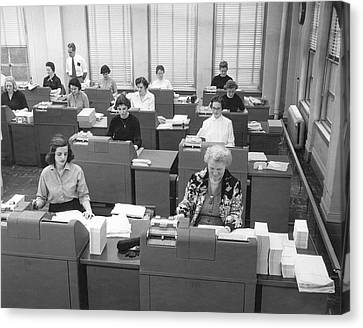Office Workers Entering Data Canvas Print by Underwood Archives