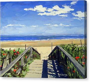 Ogunquit Beach Walkway Ogunquit Maine Canvas Print by Christine Hopkins