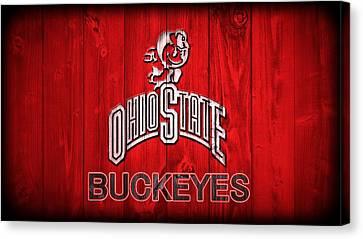Ohio State Buckeyes Barn Door Vignette Canvas Print by Dan Sproul
