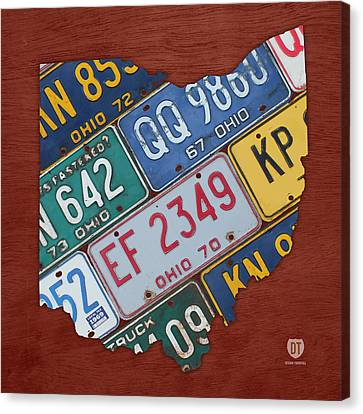 Ohio State Map Made Using Vintage License Plates Canvas Print by Design Turnpike