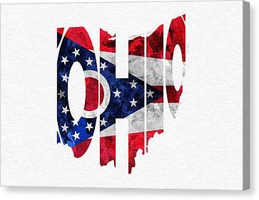 Ohio Typographic Map Flag Canvas Print by Ayse Deniz