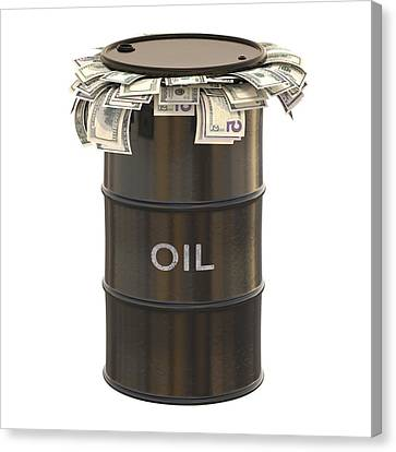 Oil Barrel With Us Dollars Canvas Print by Ktsdesign