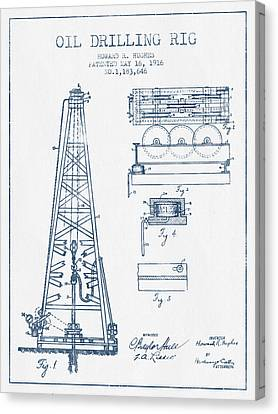 Oil Drilling Rig Patent From 1916 -  Blue Ink Canvas Print by Aged Pixel