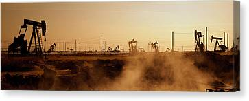 Oil Drills In A Field, Maricopa, Kern Canvas Print by Panoramic Images