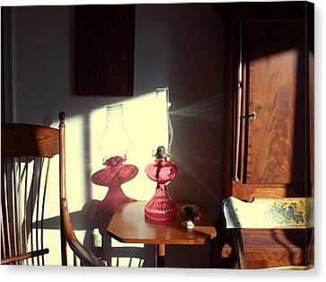 Oil Lamp Reflections Canvas Print by Gordon Maull