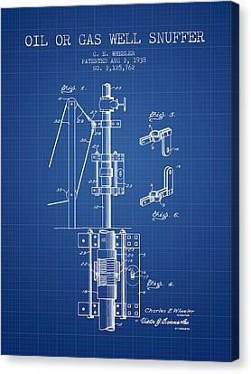 Oil Or Gas Well Snuffer Patent From 1938 - Blueprint Canvas Print by Aged Pixel