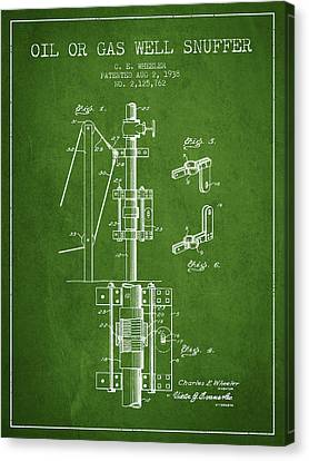 Oil Or Gas Well Snuffer Patent From 1938 - Green Canvas Print by Aged Pixel