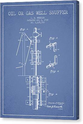 Oil Or Gas Well Snuffer Patent From 1938 - Light Blue Canvas Print by Aged Pixel