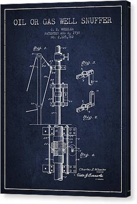 Oil Or Gas Well Snuffer Patent From 1938 - Navy Blue Canvas Print by Aged Pixel