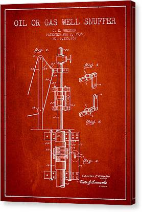 Oil Or Gas Well Snuffer Patent From 1938 - Red Canvas Print by Aged Pixel