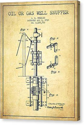Oil Or Gas Well Snuffer Patent From 1938 - Vintage Canvas Print by Aged Pixel