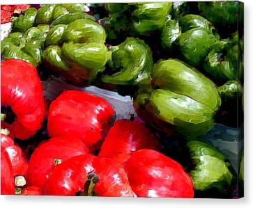 Oil Painting Of Red And Green Peppers Canvas Print by Elaine Plesser
