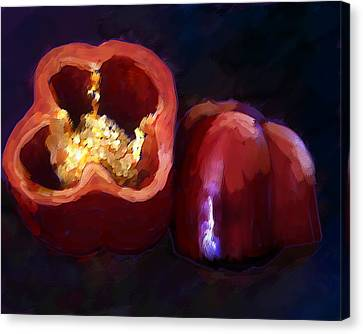 Oil Painting Of Red Pepper Canvas Print by Elaine Plesser