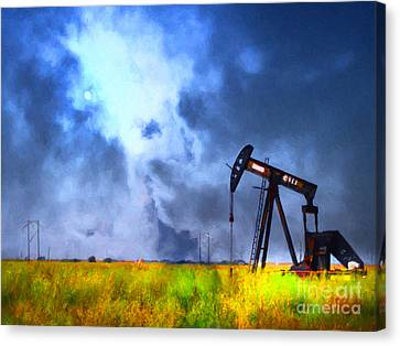 Oil Pump Field Canvas Print by Wingsdomain Art and Photography