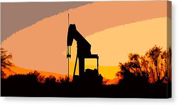 Oil Pump In Sunset Canvas Print by James Granberry