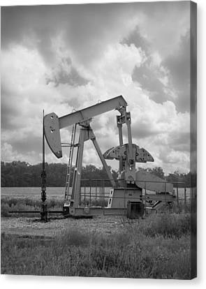 Oil Pump Jack In Black And White Photography Canvas Print by Ann Powell