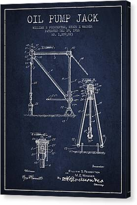 Oil Pump Jack Patent Drawing From 1916 - Navy Blue Canvas Print by Aged Pixel