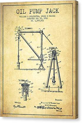 Oil Pump Jack Patent Drawing From 1916 - Vintage Canvas Print by Aged Pixel