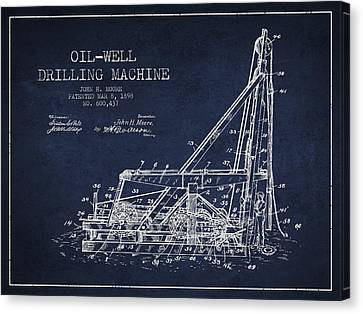 Oil Well Drilling Machine Patent From 1898 - Navy Blue Canvas Print by Aged Pixel