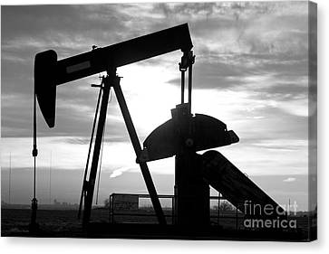 Oil Well Pump Jack Black And White Canvas Print by James BO  Insogna