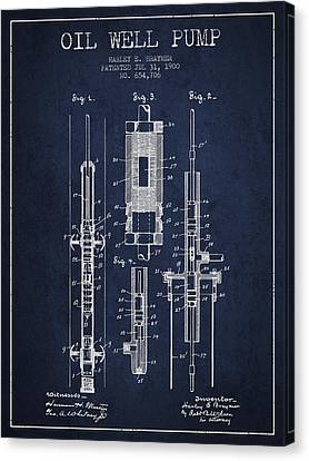 Oil Well Pump Patent From 1900 - Navy Blue Canvas Print by Aged Pixel