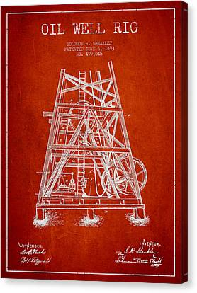 Oil Well Rig Patent From 1893 - Red Canvas Print by Aged Pixel