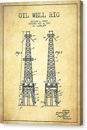 Oil Well Rig Patent From 1927 - Vintage Canvas Print by Aged Pixel