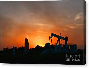 Oilfield Sunset Canvas Print by Debra McKinnon