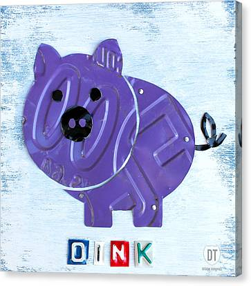 Oink The Pig License Plate Art Canvas Print by Design Turnpike