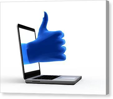 Okay Gesture Blue Hand From Screen Canvas Print by Michal Bednarek