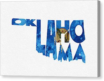 Oklahoma Typographic Map Flag Canvas Print by Ayse Deniz