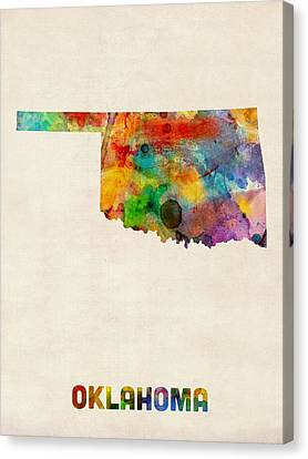 Oklahoma Watercolor Map Canvas Print by Michael Tompsett