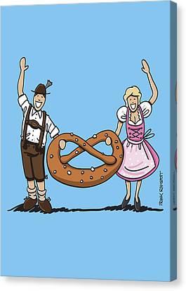 Oktoberfest Couple With Large Pretzel Canvas Print by Frank Ramspott