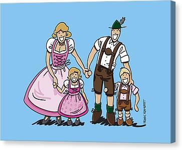 Oktoberfest Family Dirndl And Lederhosen Canvas Print by Frank Ramspott